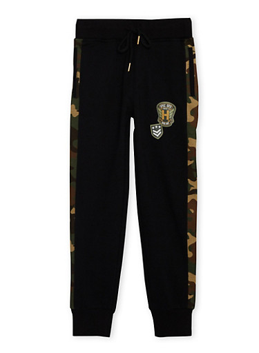 Boys 8-20 Joggers with Camo Trim and Graphic Patches,BLACK,large