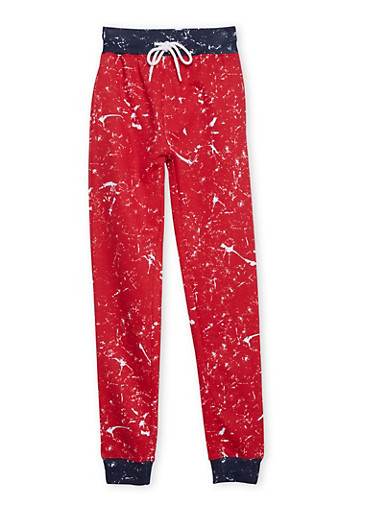 Boys 8-18 Drawstring Joggers in Paint-Splatter Print,RED,large