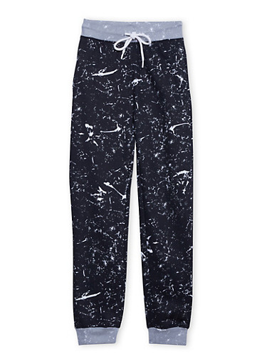 Boys 8-20 Joggers with Paint Splatter Print and Drawstring,BLACK,large