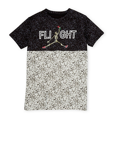 Boys 8-18 Color Block Tee with Skeleton Graphic,BLACK,large