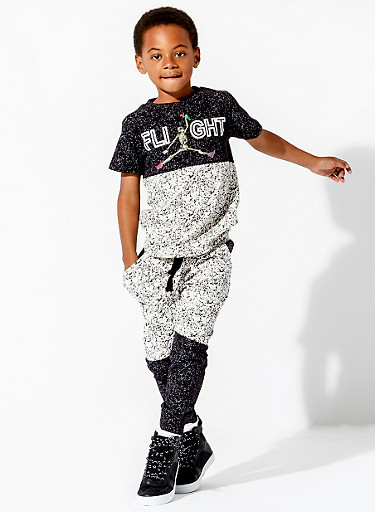 Boys 8-20 French Terry Joggers in Splatter Print,BLACK,large