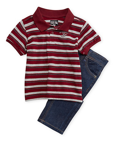 Boys 8-12 BHPC Striped Polo Tee and Jeans Set,CRANBERRY,large