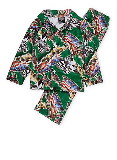 Boys 4-7 Pajama Set with Race Car Print,GREEN,large