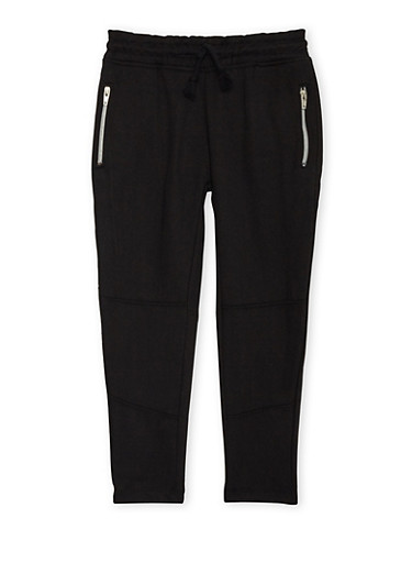 Boys 4-7 Heathered Sweatpants with Zip Pockets,BLACK,large