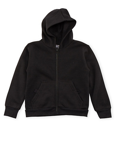 Boys 4-7 Fleece Heathered Hoodie with Pockets,BLACK,large