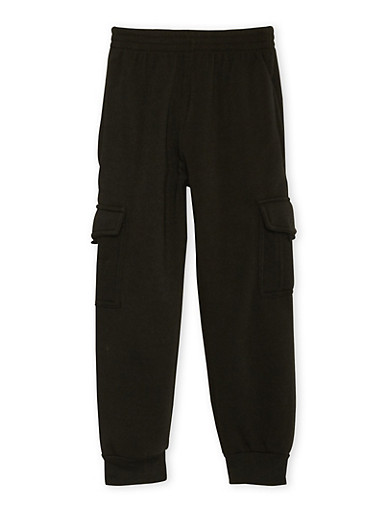 Boys 4-7 Fleece Cargo Joggers,BLACK,large