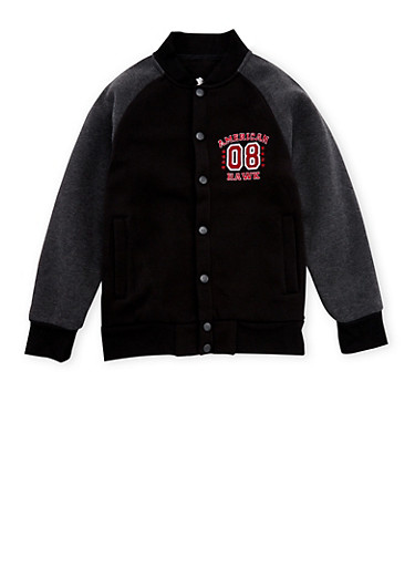Boys 4-7 Color Block Varsity Jacket with Patch,BLACK,large