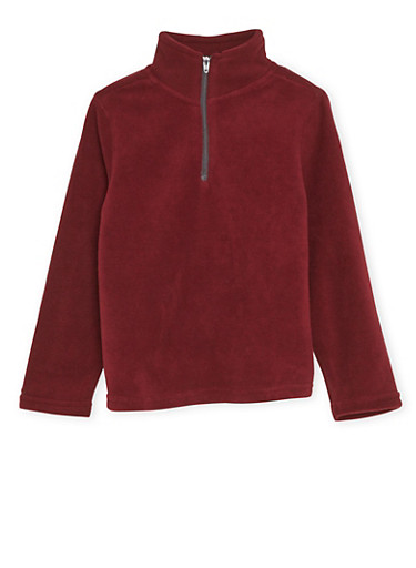 Boys 4-6x French Toast Fleece Pullover Top,WINE,large