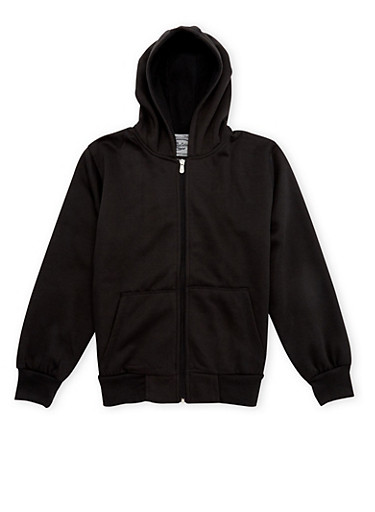Boys 8-20 Fleece Hoodie with Zip Front,BLACK,large