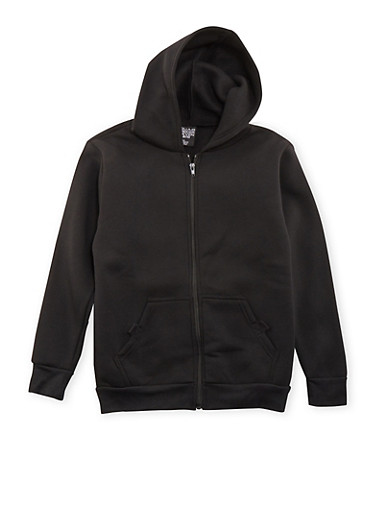 Boys 8-18 Zip Up Hoodie with Pockets,BLACK,large