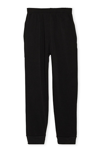 Boys 8-18 Solid Fleece Sweatpants,BLACK,large