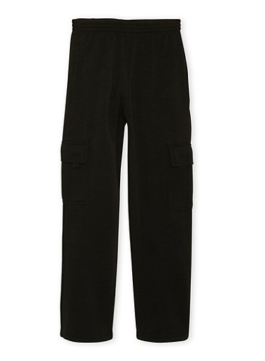 Boys 8-18 Fleece Cargo Sweatpants,BLACK,large