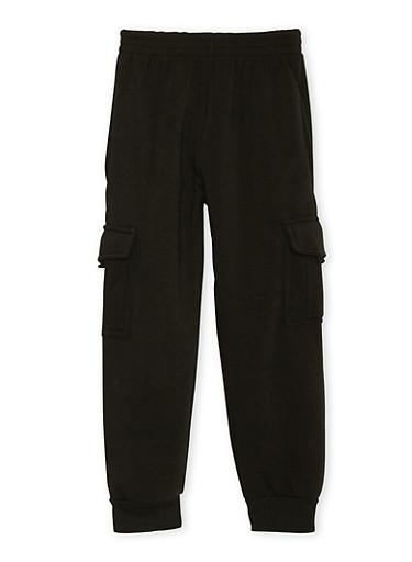 Boys 8-18 Fleece Sweatpants with Cargo Pockets,BLACK,large