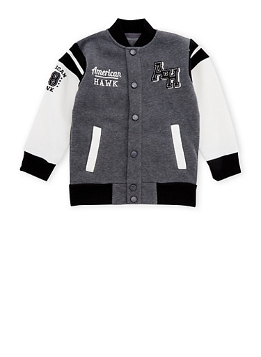 Boys 8-18 Color Block Varsity Jacket with Patches,GREY,large