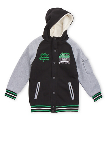 Boys 8-18 Hooded Varsity Jacket with Sherpa Lining,BLK/HGRY,large