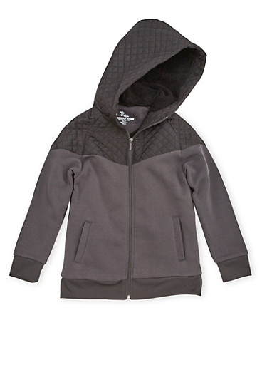 Boys 8-16 Zip Front Hoodie with Quilted Paneling,CHARCOAL,large