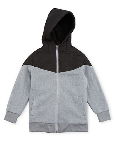 Boys 8-16 Fleece Hoodie with Quilted Paneling,HEATHER,large