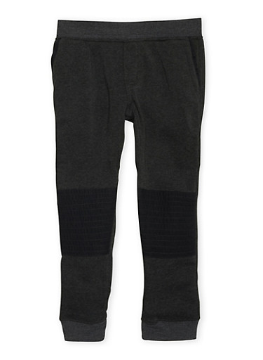 Boys 8-20 Joggers with Ribbed Moto Knee Patches,CHARCOAL,large