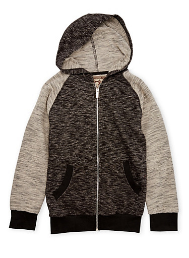 Boys 8-20 Zip Hoodie in Marled Knit,BLACK,large