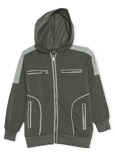 Boys 8-20 Zip Hoodie with Quilted Shoulders,CHARCOAL,large