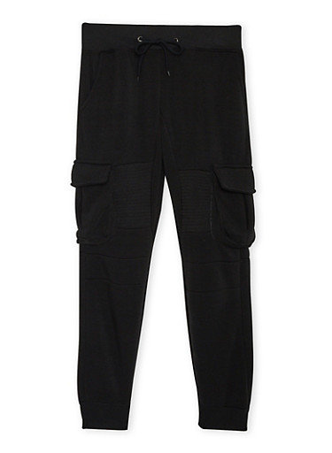 Boys 8-20 Fleece Cargo Joggers with Ribbed Panels,BLACK,large