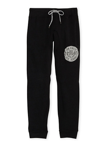 Boys 8-20 Heathered Joggers with NY Athletic Dept Print,BLACK,large