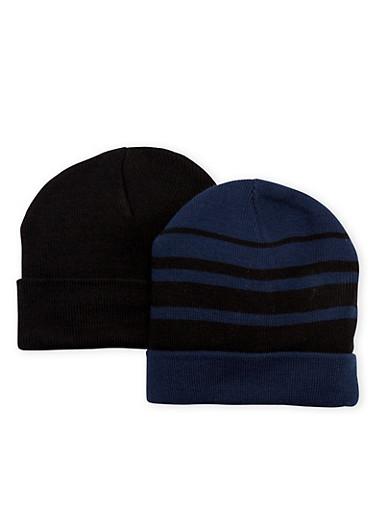 Boys Set of 2 Foldover Beanie Hats,NAVY,large