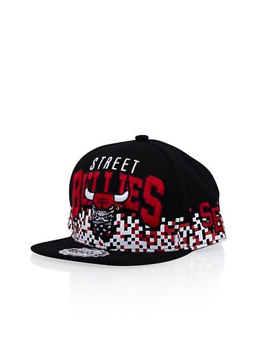 Snapback Hat with Street Bullies Design,BLACK,large