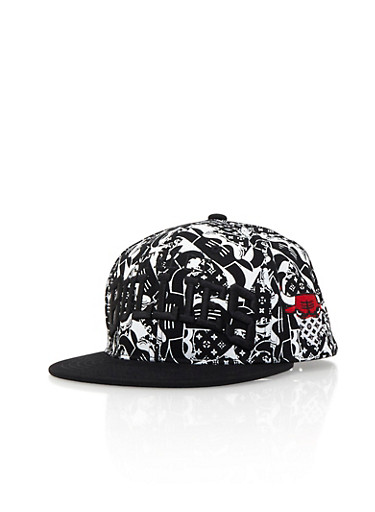 Street Bullies Snapback with Embroidered Bull Accent,BLACK/WHITE,large