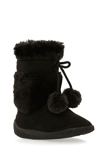 Girls Boots with Faux Shearling Stripes,BLACK,large