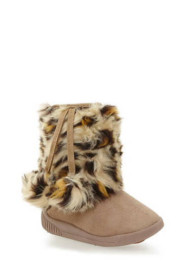 Girls Boots with Faux Shearling Paneling,BEIGE,large