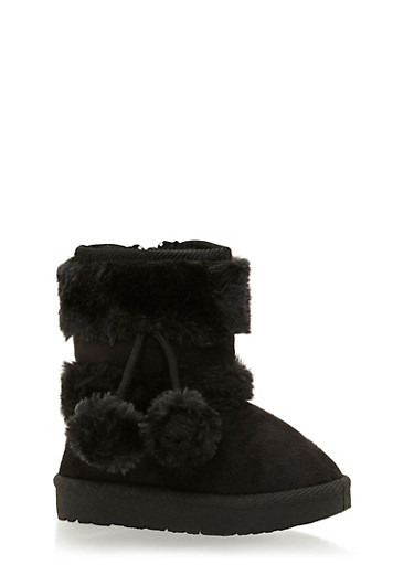 Girls Boots with Faux Sharling Paneling,BLACK,large