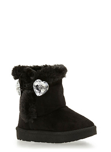 Girls Faux Shearling Lined Boots with Crystal Hearts,BLACK,large