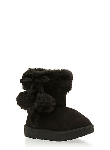 Girls Boots with Faux Shearling Paneling,BLACK,large
