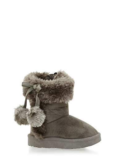 Girls Faux Shearling Lined Boots with Pom Poms,GREY,large