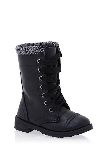 Girls Faux Leather Boots with Marled Knit Cuff,BLACK,large