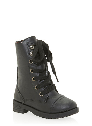 Girls Faux Leather Combat Boots with Floral Lining,BLACK,large