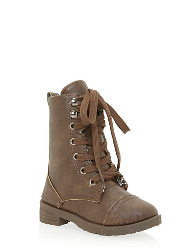 Girls 5-10 Faux Leather Combat Boots with Floral Lining,BROWN,large