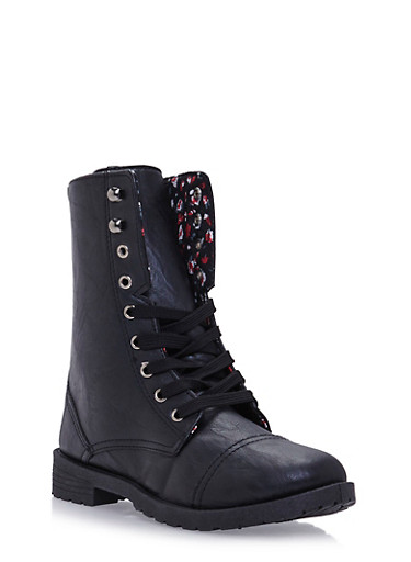 Girls 11-4 Lace-Up Combat Boots in Faux Leather,BLACK,large