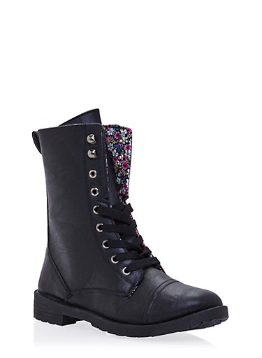 Girls Lace-Up Combat Boots in Faux Leather,BLACK,large
