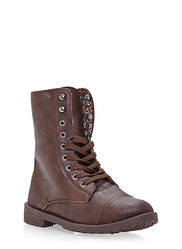 Girls Lace-Up Combat Boots in Faux Leather,BROWN,large