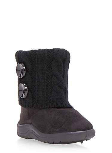Girls Boots with Sweater Knit Cuff and Button Accents,BLACK,large