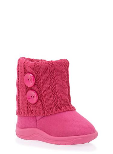 Girls Boots with Sweater Knit Cuff,FUCHSIA,large
