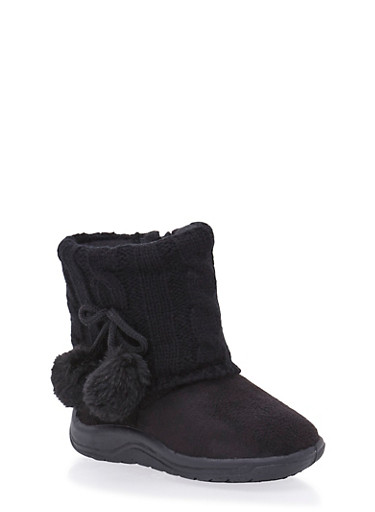 Girls Boots with Sweater Knit Cuff,BLACK,large