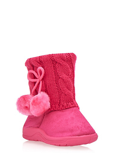 Girls Boots with Sweater Knit Cuffs and Pom Poms,FUCHSIA,large