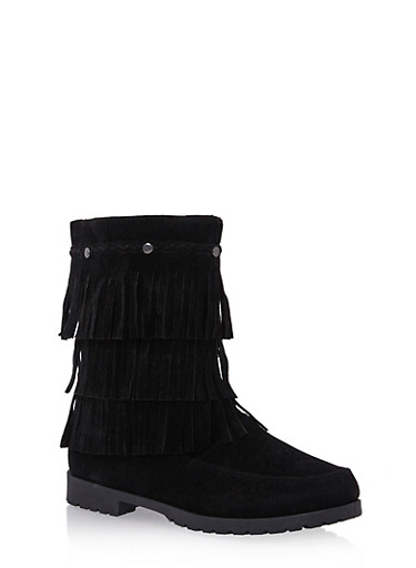Girls Faux Suede Boots with Tiered Fringe,BLACK,large