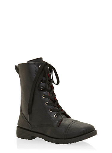 Girls Lace-Up Combat Boots with Buffalo Check Lining,BLACK,large