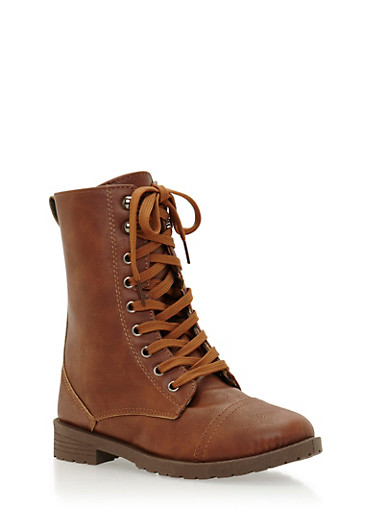 Combat Boots with Leopard Print Lining,BROWN,large