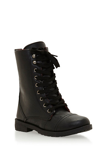 Combat Boots with Plaid Lining,BLACK,large