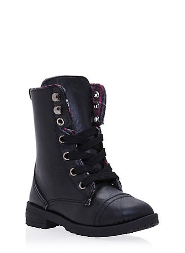 Girls 5-10 Faux Leather Combat Boots with Lining,BLACK,large